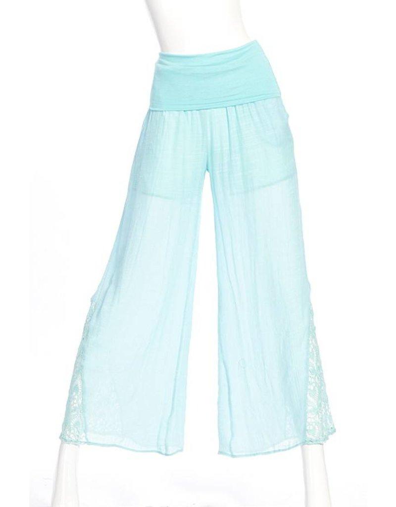 SassyBling Fold Over Waist Pants w/Lace Trim Detail