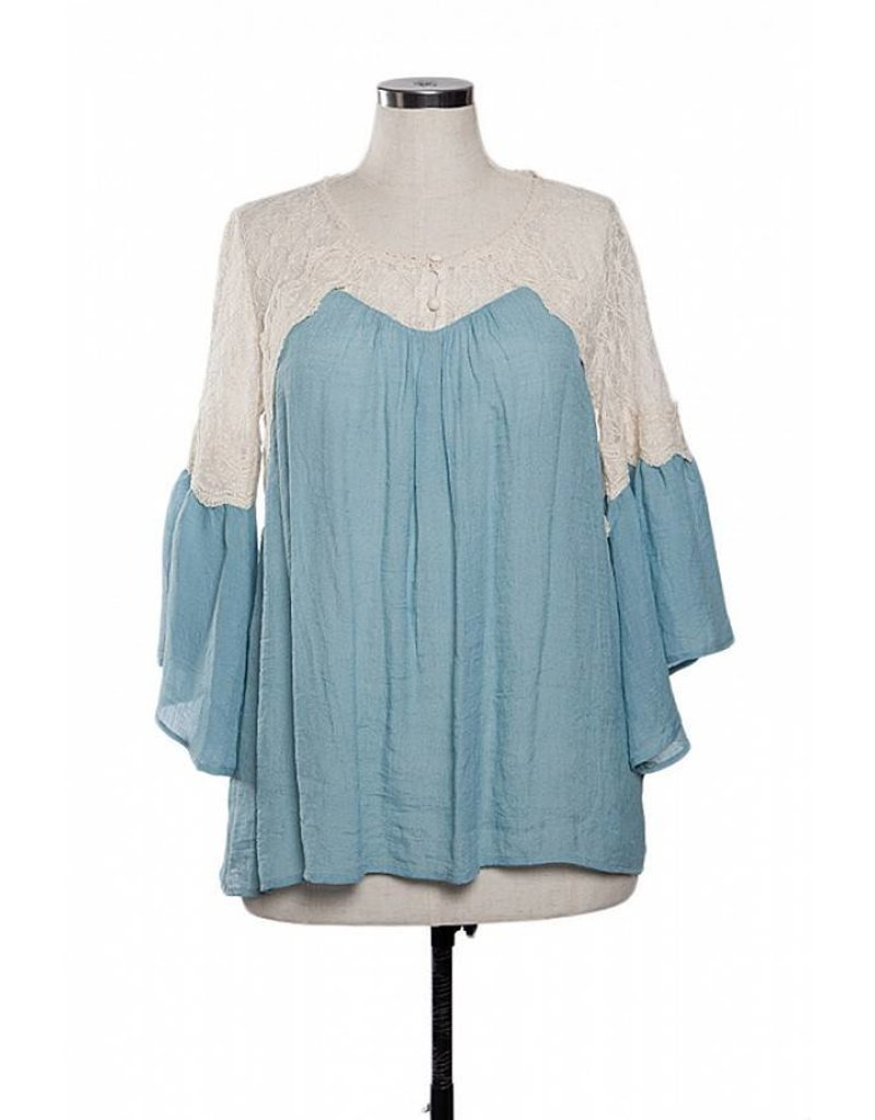 A'reve Lace Shoulder 3/4 peasant top