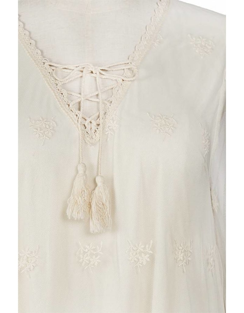 3/4 Sheer Slv Embrod/Lace Tunic