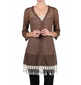 LSlv Bttn Up Cardigan Fringe Bttm