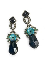Sweet Romance Jet Drop Czech Flower Earrings