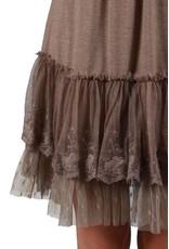 RYU L.Slv Lace Trim Slip Dress