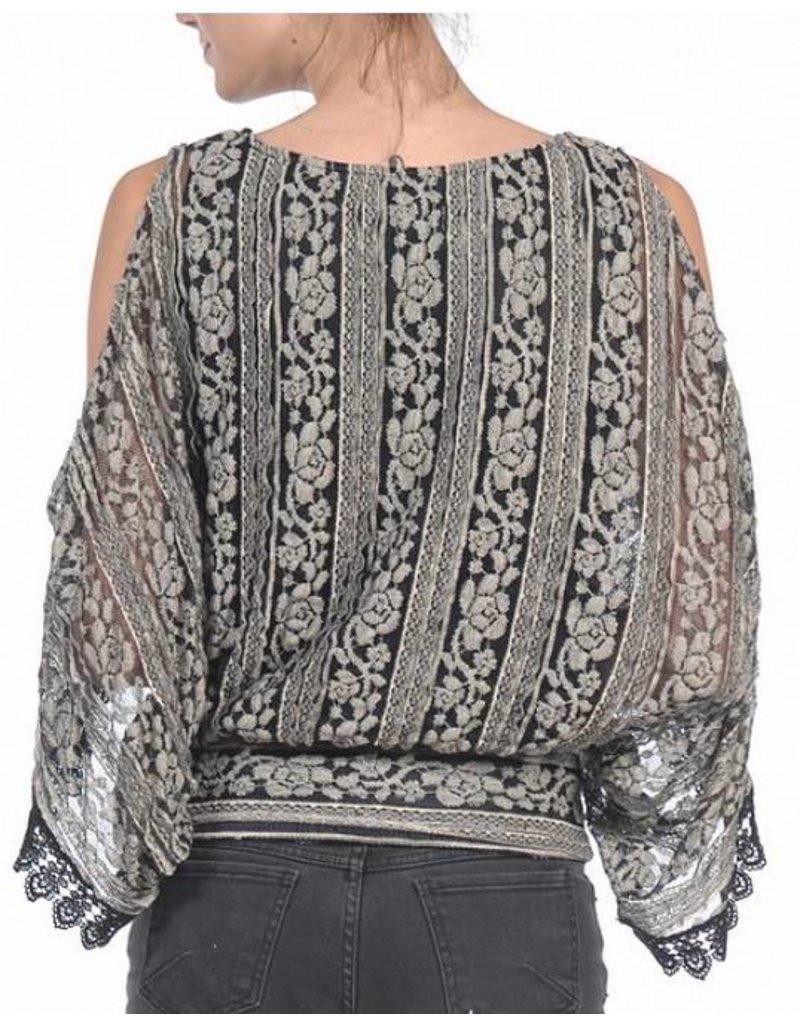 Open Slv Kimono Top w/ Lace Detail