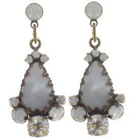 Konplott Dangerous Liaisons White Antique Brass Post Earrings