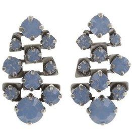 Konplott Blue Air Opal Dangle Silver Stud Earrings