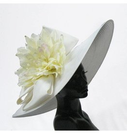 Whittall & Shon Off-White Big Brim Hat White Flower