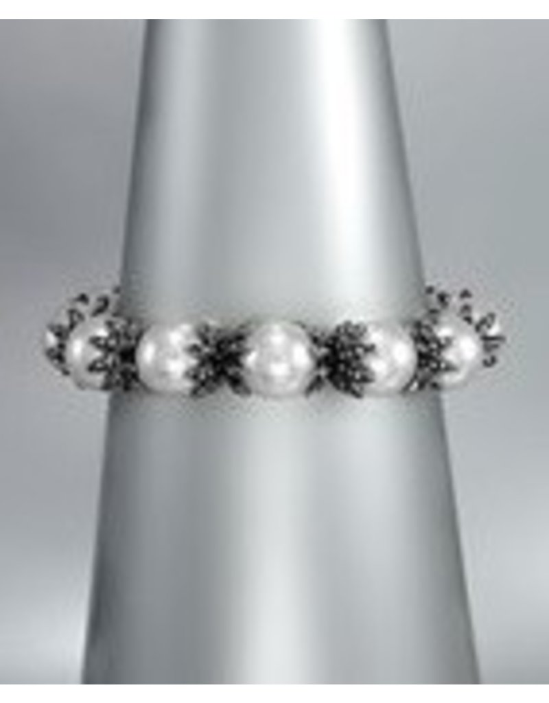 Golden Stella Pearls w Metal Links Stretch Bracelet