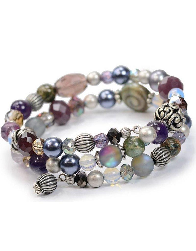 Sweet Romance Multi Bead Boho Bracelet Plum/Silver