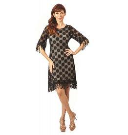 Lindi 3/4 Slv Lace Lined Dress Fringe Accent