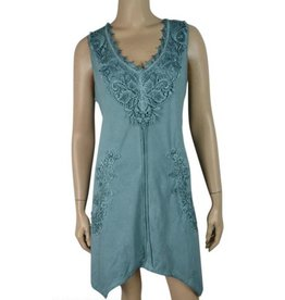 Pretty Angel Slvls Lace Chest & Keyhole Back Tunic