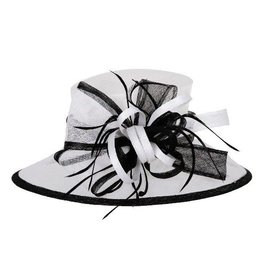 Something Special LA Lrg Brim Sinamay Hat w/ Loopy Cluster Center - B&W