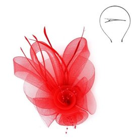 Something Special LA Mesh Flower Hair Clip and Headband Fascinator - Red