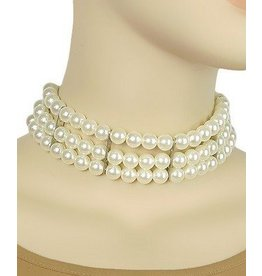 Golden Stella 3 Row Pearl Choker - Pearls/Silver