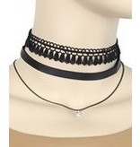 Golden Stella Woven Choker & Necklace Black Set