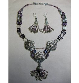Sharon B's Originals Purple and Silver Tassel Neck Ear Set