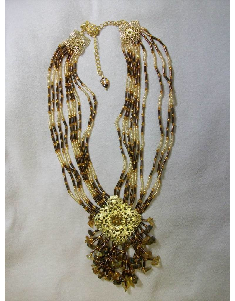 Sharon B's Originals Brown Amber Chip 10 Sq Necklace