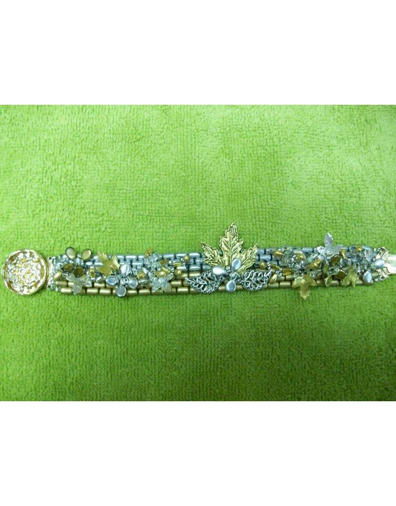 Sharon B's Originals Silv & Gold Leaves Bracelet