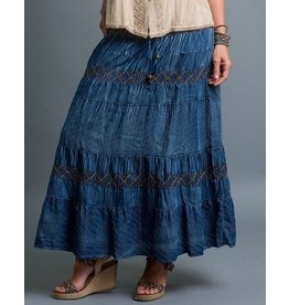 Sacred Threads Top Tie Cotton Skirt Crisscross Stitch