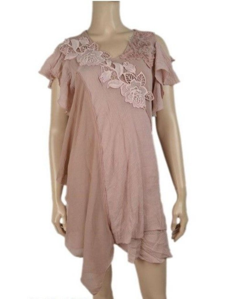 Pretty Angel Cold Shldr Embrod Hankerchief Tunic