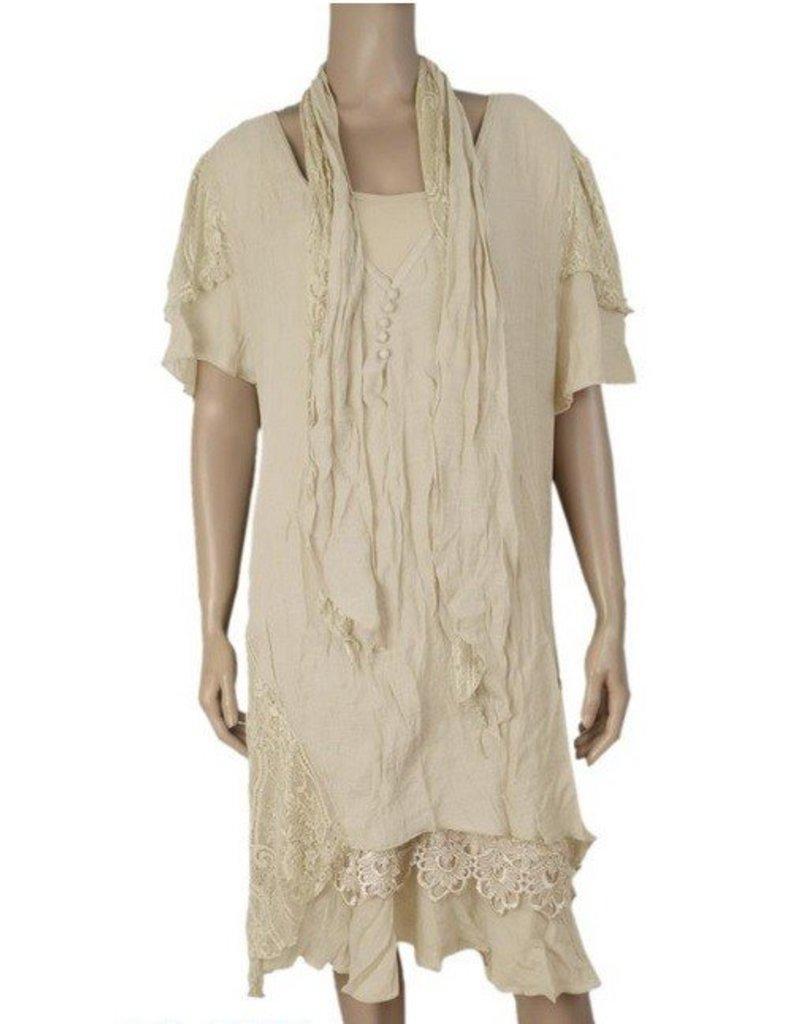Pretty Angel 3 Pc Slvls Ruffle Bottom Dress w/ Scarf