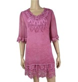 Pretty Angel Sheer Overlay Lace Detail Tunic