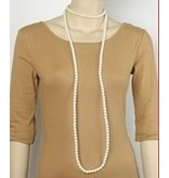 Golden Stella Pearl Strands Necklace-White Pearl