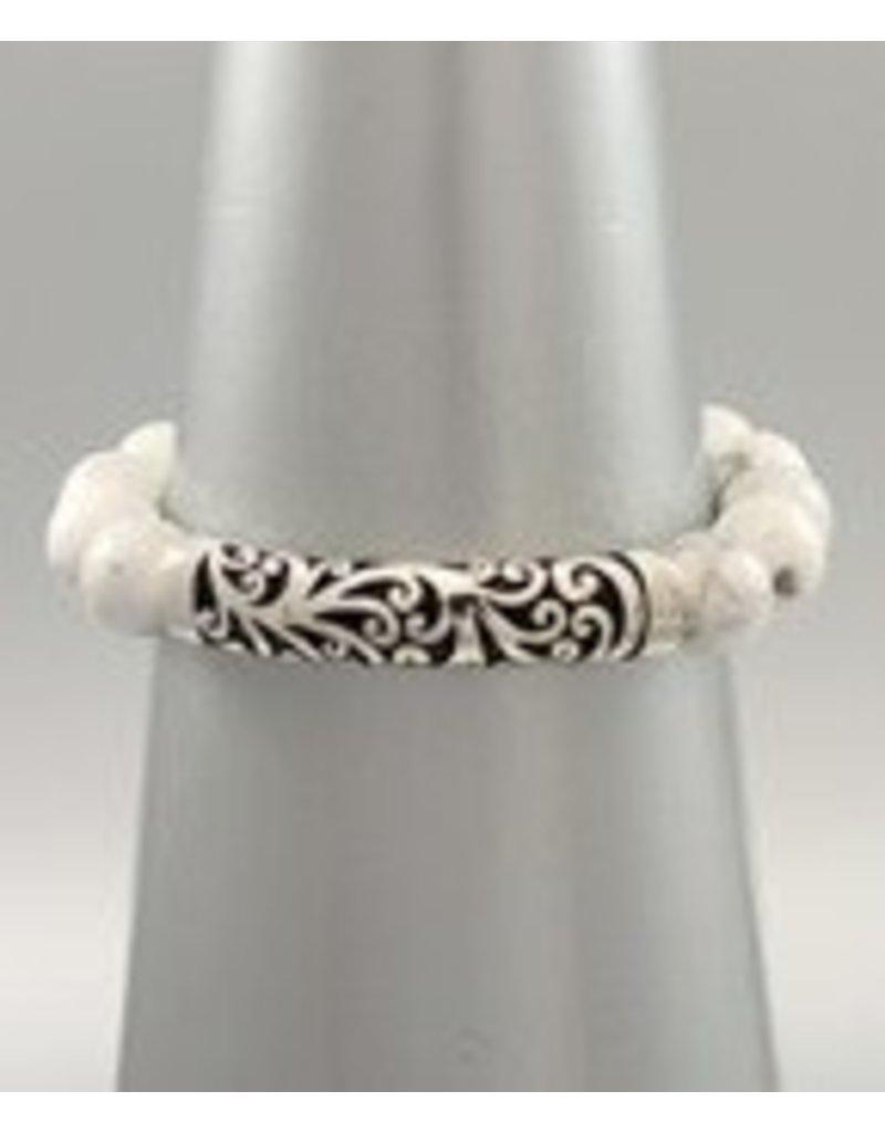 Golden Stella Engraved Curved Bar & Stone Bracelet