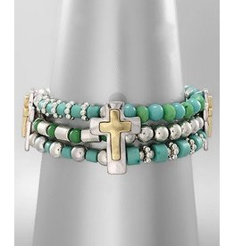 Golden Stella 3 Strand Beads Bracelet w/ Crosses