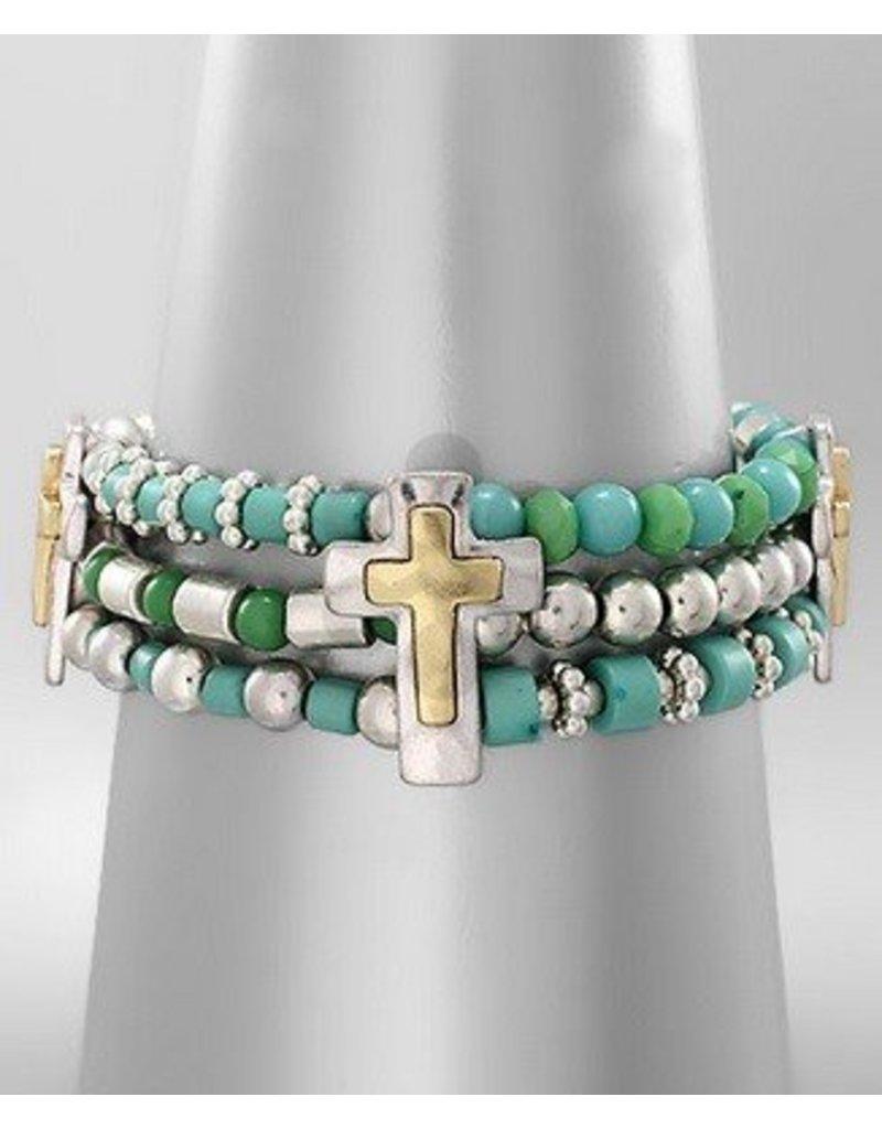 Golden Stella 3 Strand Beads Bracelet w Crosses