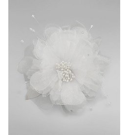 Golden Stella Tulle Flower Hair Clip / Pin - White