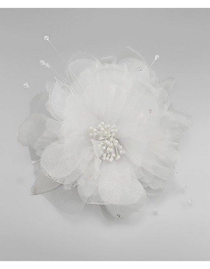 Golden Stella Tulle Flower Hair Clip / Pin - White