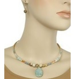 Golden Stella Stone T-Drop Choker w/ Earrings-Gold/Amazonite