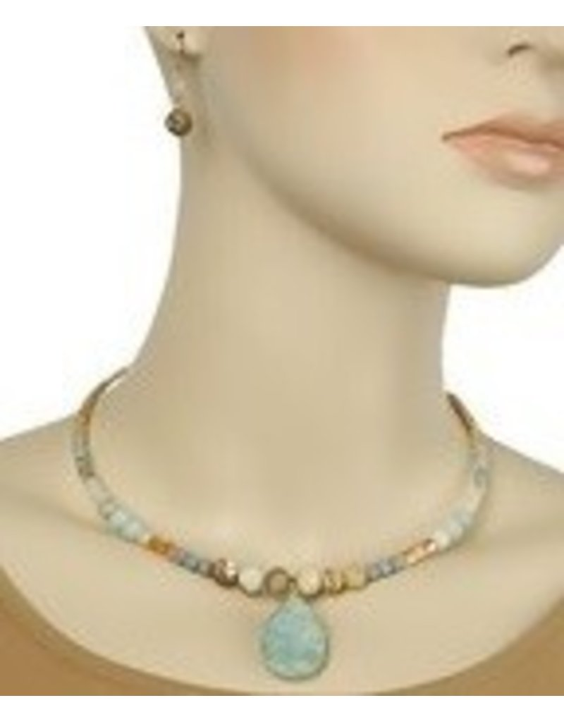 Golden Stella Stone T-Drop Choker w/ Earrings-Gold/Amazonite