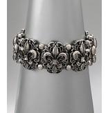 Golden Stella Fleur-De-Lis Metal Trim Link Stretch Bracelet
