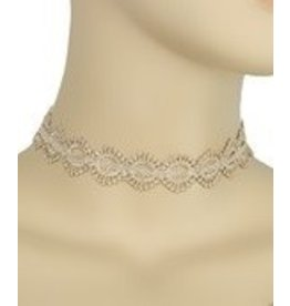 Golden Stella Diamond Shaped Linked Lace Choker-Beige