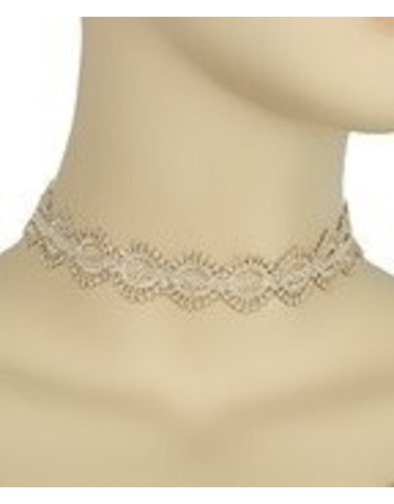 Golden Stella Diamond Shaped Linked Lace Choker-Beige