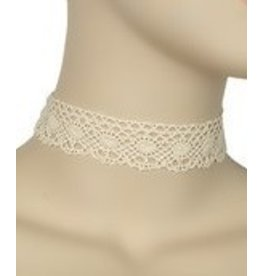 Golden Stella Crochet w/ Oval Design Choker-Cream