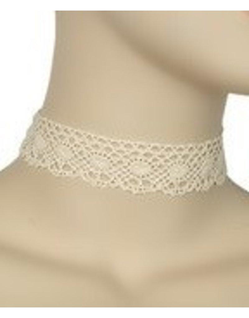Golden Stella Crochet w/ Oval Design Choker-Cream