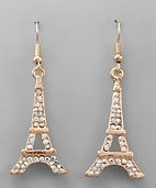 Golden Stella Eiffel Tower Crystal Earrings