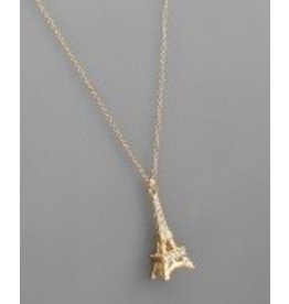Golden Stella Eiffel Tower Necklace Gold