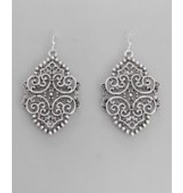 Golden Stella Metal Filigree Earrings-Silver