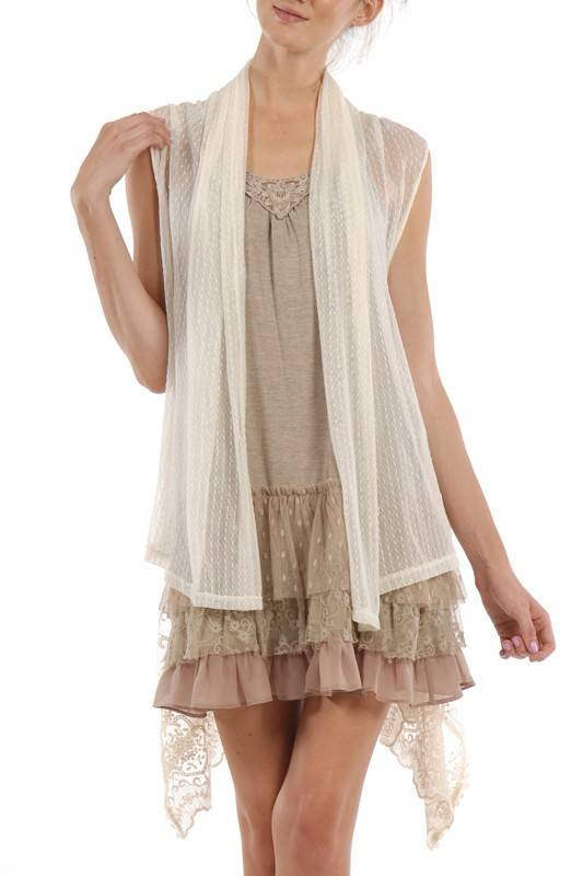 A'reve Lace Vest W/ Back Tie Cream