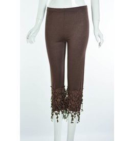 Lady Noiz Floral Lace Trim Leggings Brown
