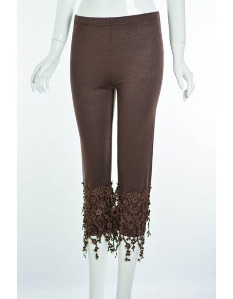 Lady Noiz Floral Lace Trim Leggings