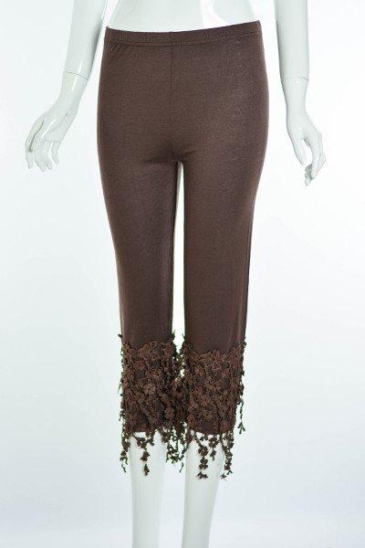 Lady Noiz Floral Lace Trim Leggings Brown Plus