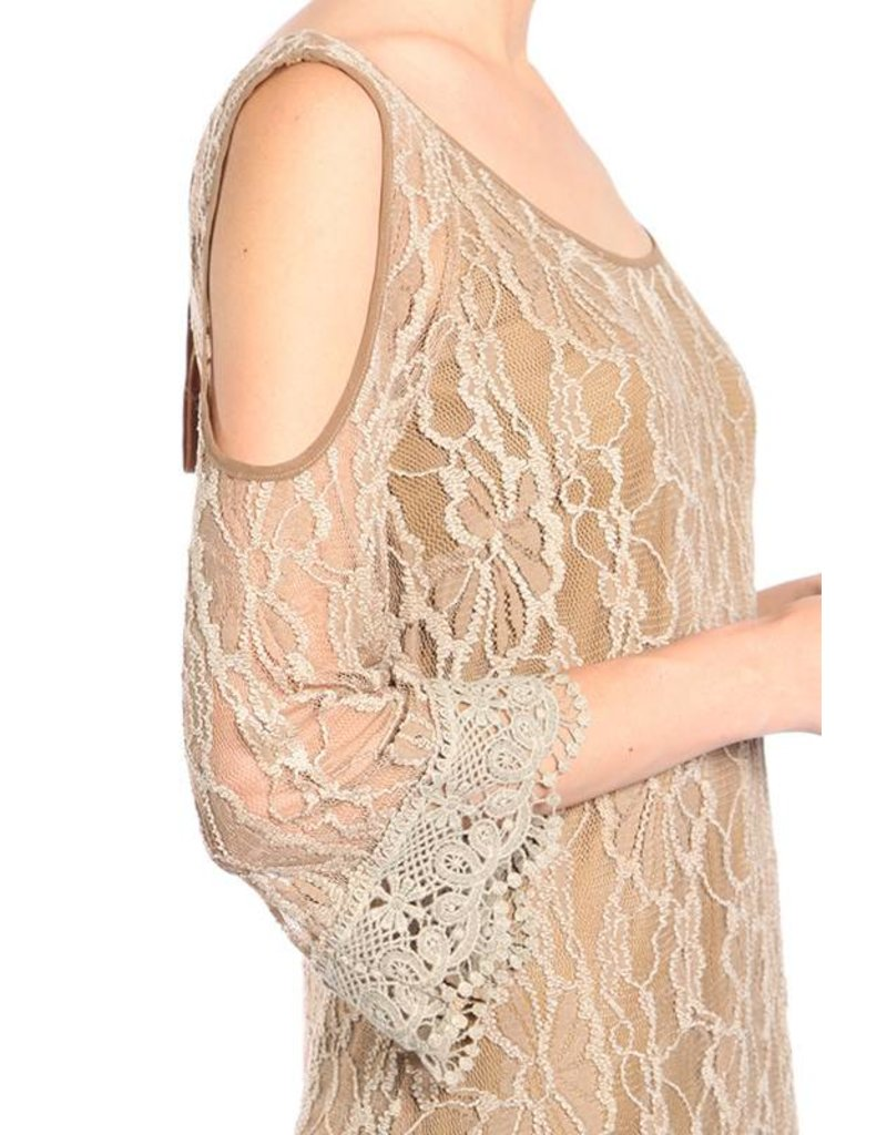 A'reve Lace Dress Open Shoulders