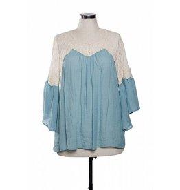 A'reve Lace Shoulder 3/4 peasant top