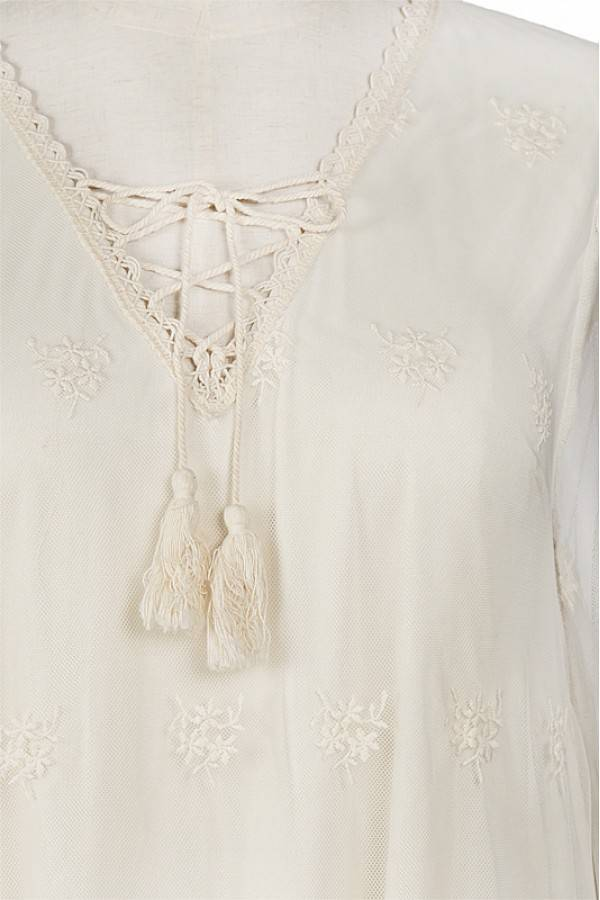 A'reve 3/4 Sheer Sleeve Embrod/Lace Tunic Cream