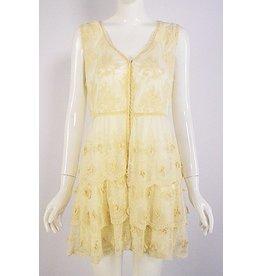 Lady Noiz Lined Floral Ruffle Bttm Lace Vest