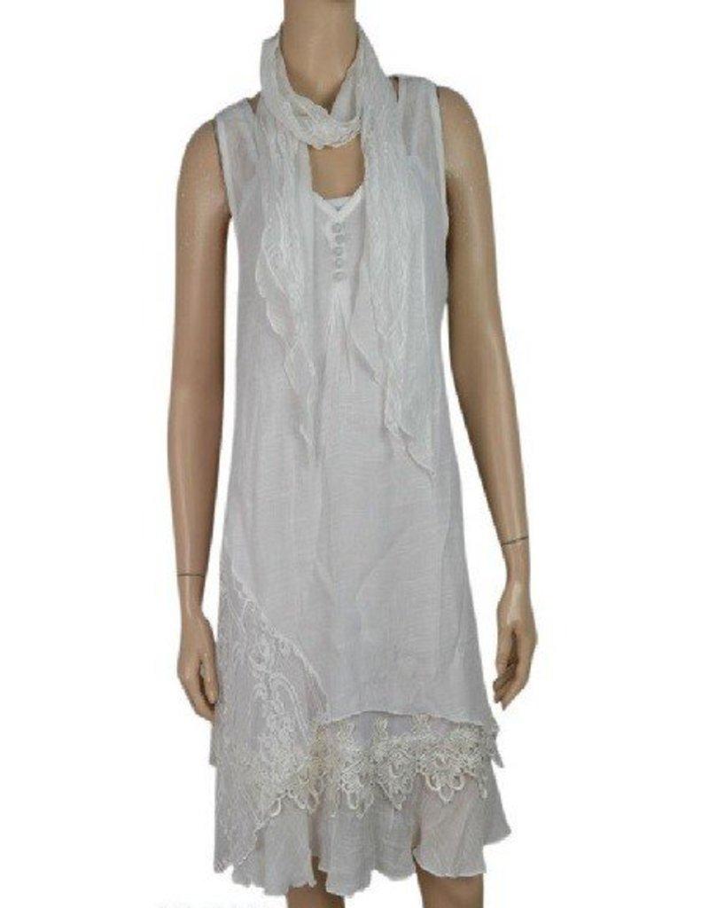 Pretty Angel 3 Pc Slvls Ruffle Bottom Dress with Scarf